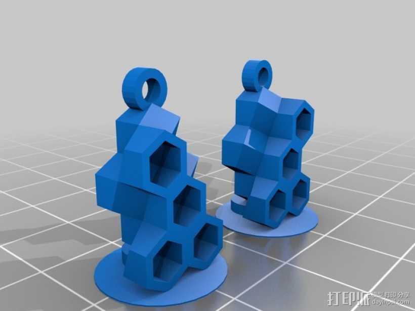 蜂巢耳环 3D打印模型渲染图
