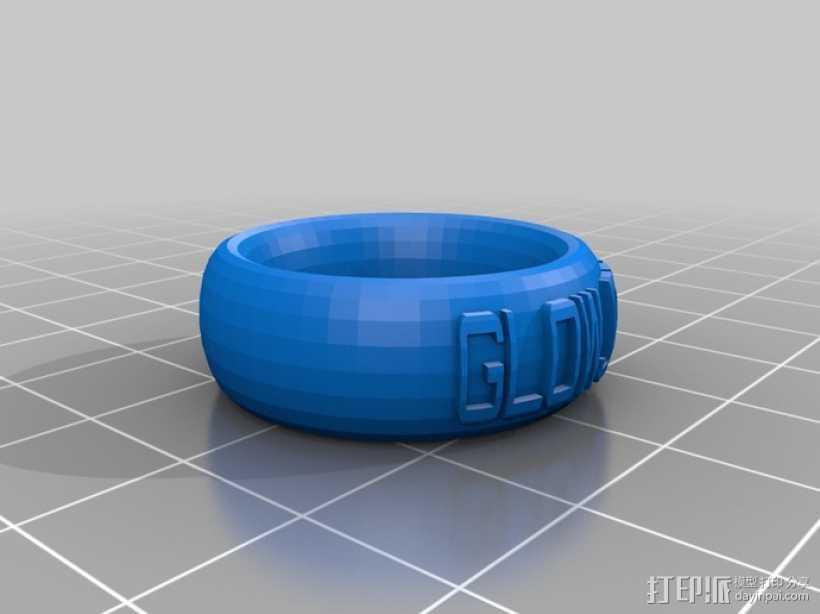 字母指环 3D打印模型渲染图