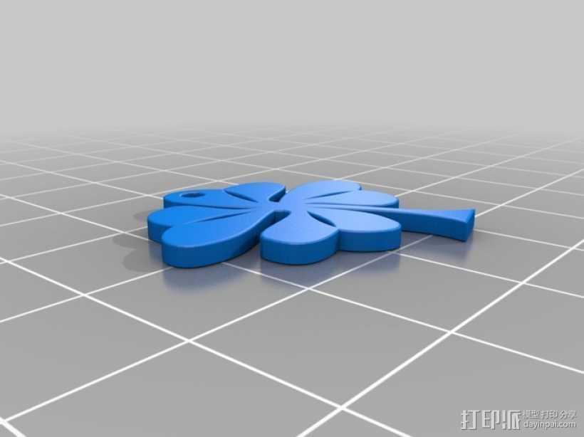 三叶草吊坠 3D打印模型渲染图