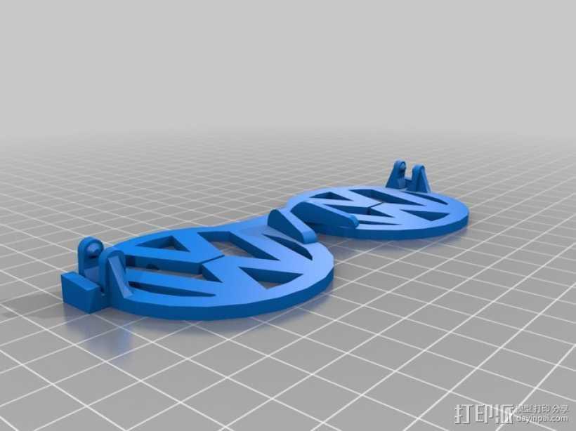 大众汽车标志眼镜 3D打印模型渲染图