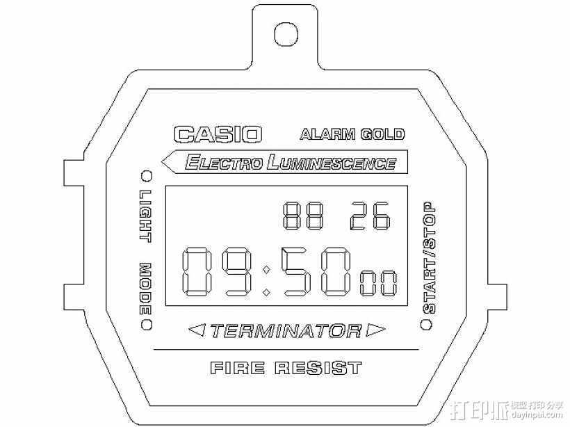 卡西欧手表项链挂饰 3D打印模型渲染图