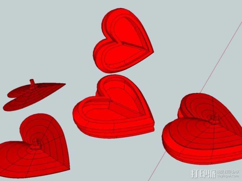 心型盒 3D打印模型渲染图