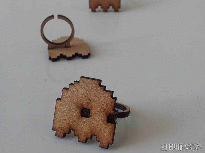 吃豆人戒指 3D打印模型渲染图