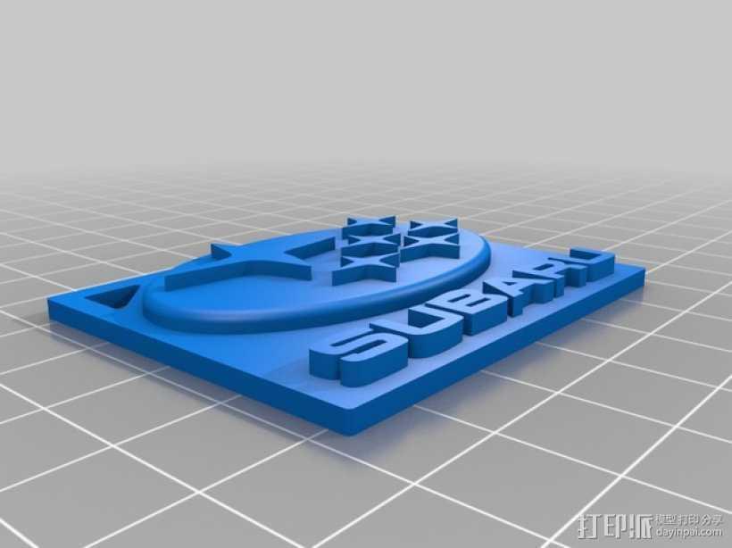 斯巴鲁logo 钥匙链 3D打印模型渲染图