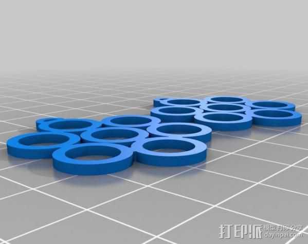 生命之花耳环 3D打印模型渲染图