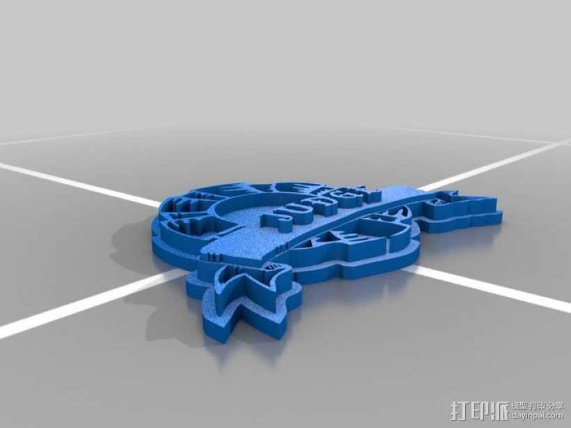 法官徽章 3D打印模型渲染图