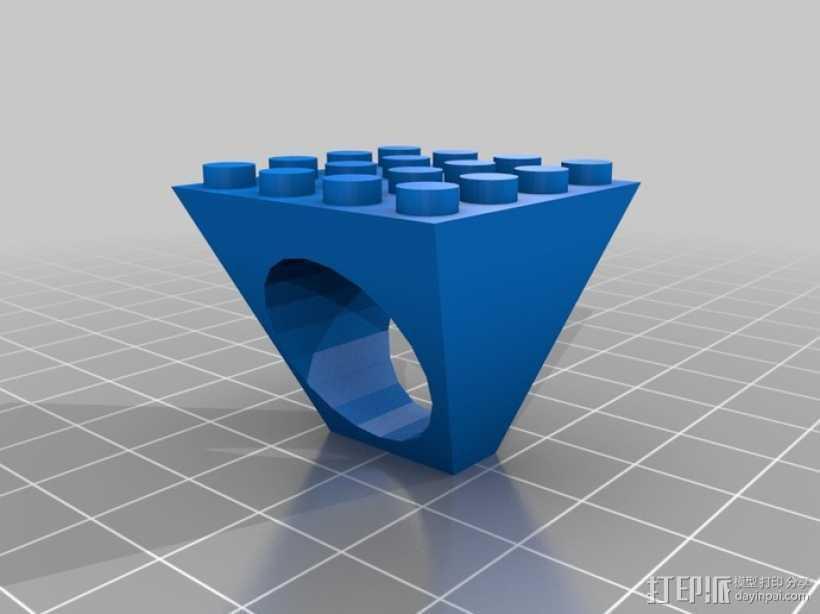乐高戒指 3D打印模型渲染图