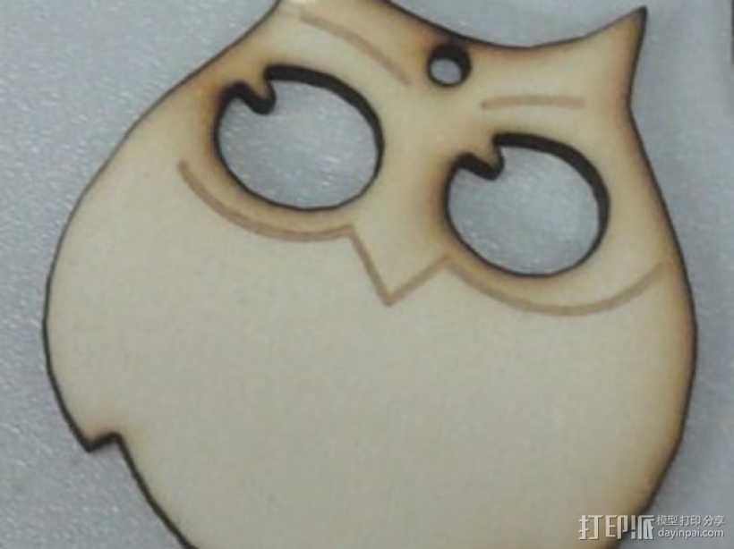 猫头鹰吊坠 3D打印模型渲染图