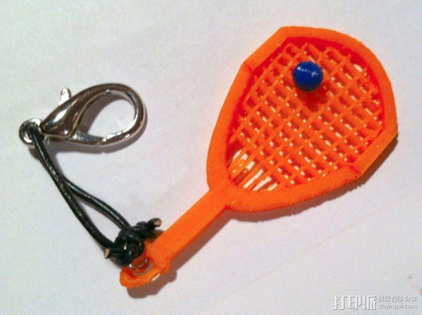网球拍 钥匙坠 3D打印模型渲染图