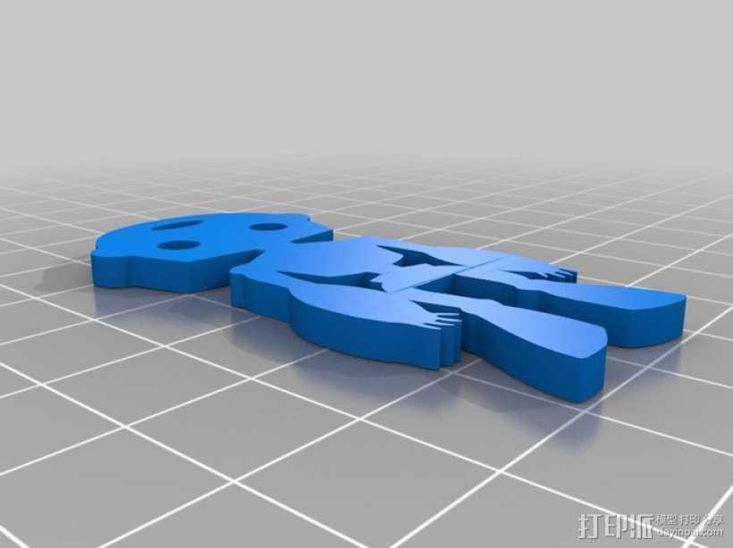 人形钥匙链 3D打印模型渲染图