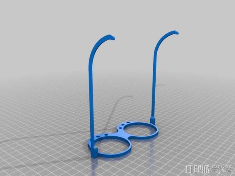 带LEDs 的书呆子眼镜 3D打印模型渲染图