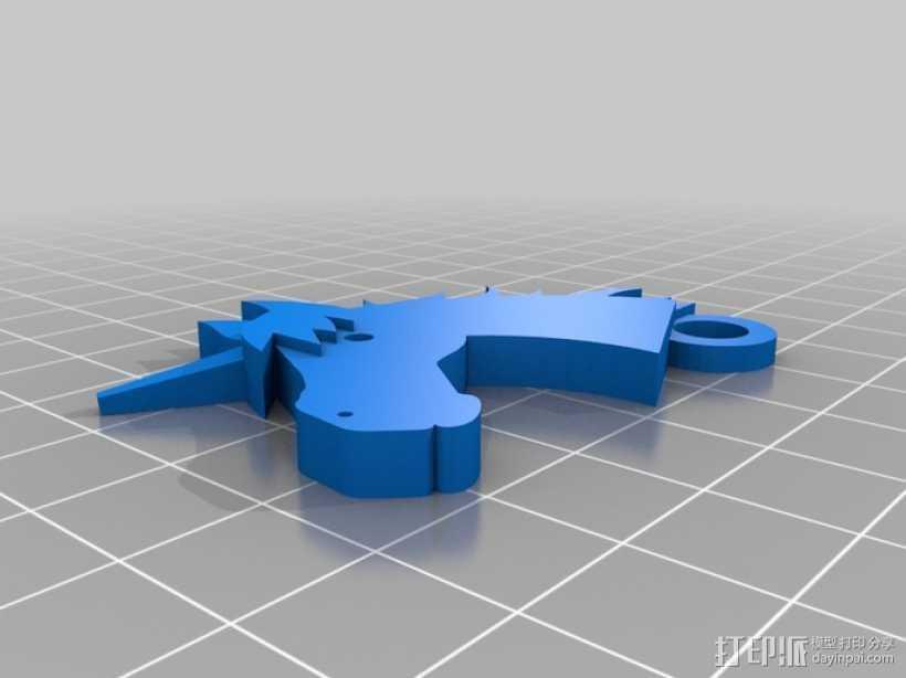 独角兽钥匙链 3D打印模型渲染图
