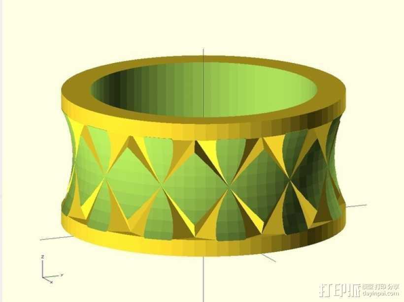 Quasi Knurled Ring戒指 3D打印模型渲染图