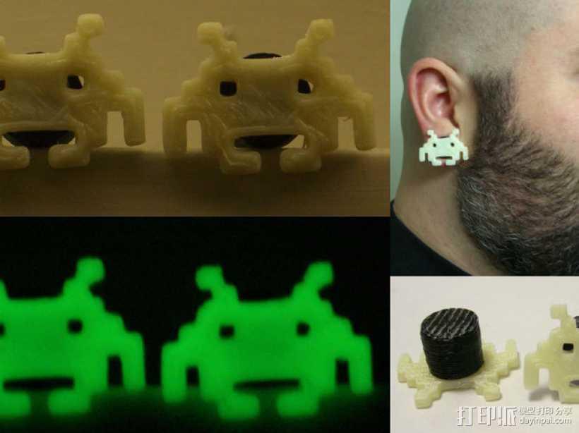 太空侵略者耳环 3D打印模型渲染图