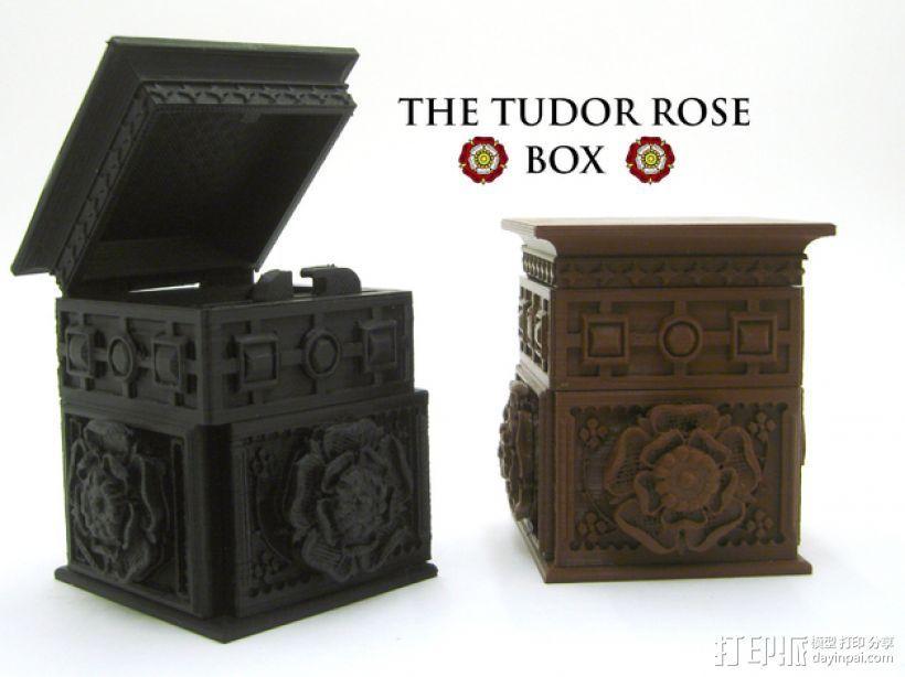 玫瑰花饰方盒  3D打印模型渲染图
