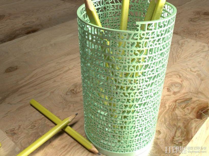 镂空数字笔筒 3D打印模型渲染图