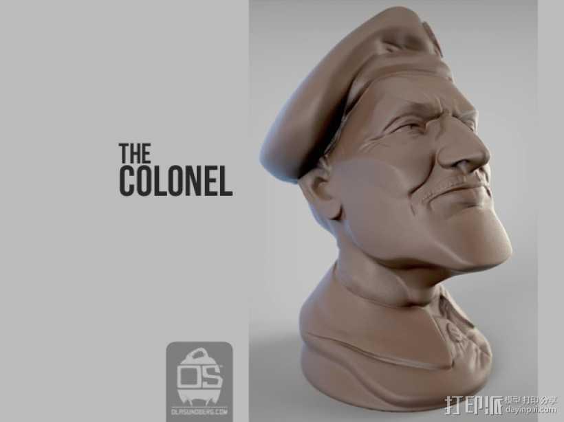 陆军上校雕塑 3D打印模型渲染图