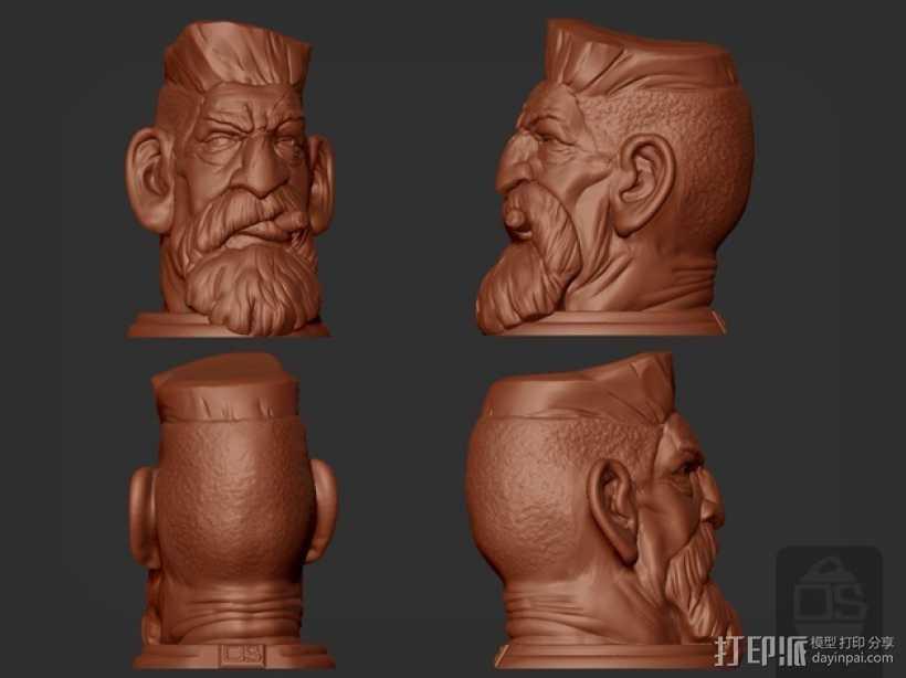 吸血鬼猎人头像 3D打印模型渲染图