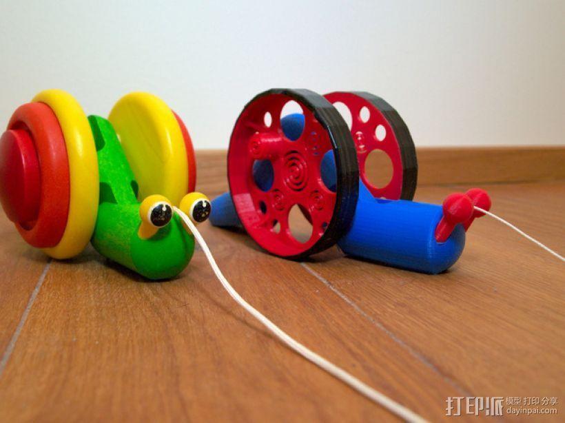 滚动蜗牛玩具 3D打印模型渲染图