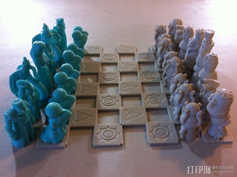 机器人与向导象棋组 3D打印模型渲染图