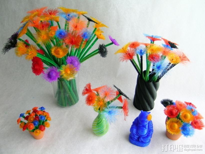 花朵 小绒花 3D打印模型渲染图