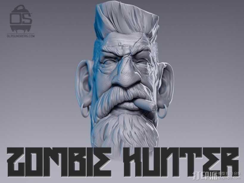 僵尸猎人头雕像 3D打印模型渲染图