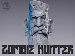 僵尸猎人头雕像