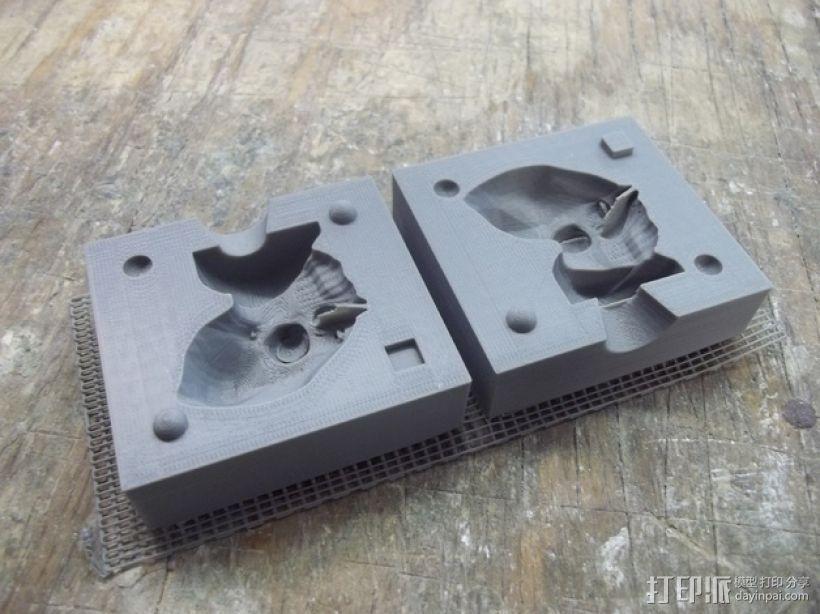 两半成型模具 3D打印模型渲染图
