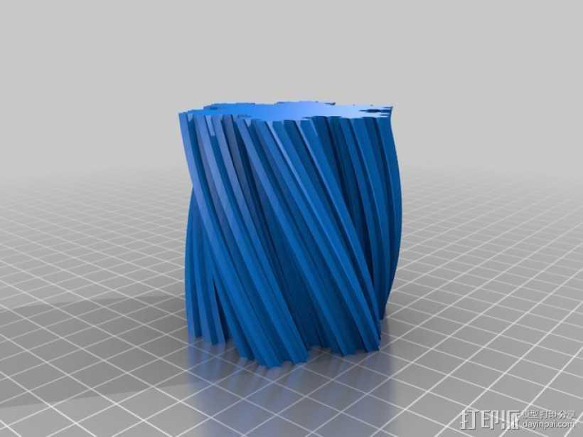 Koch雪花形状的花瓶 3D打印模型渲染图