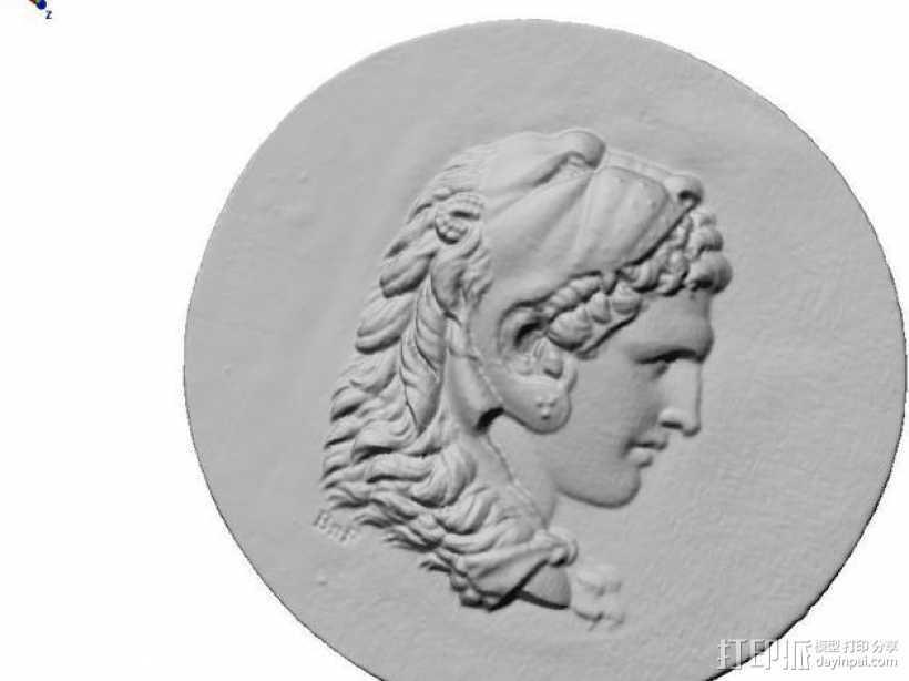 圆形浮雕 3D打印模型渲染图
