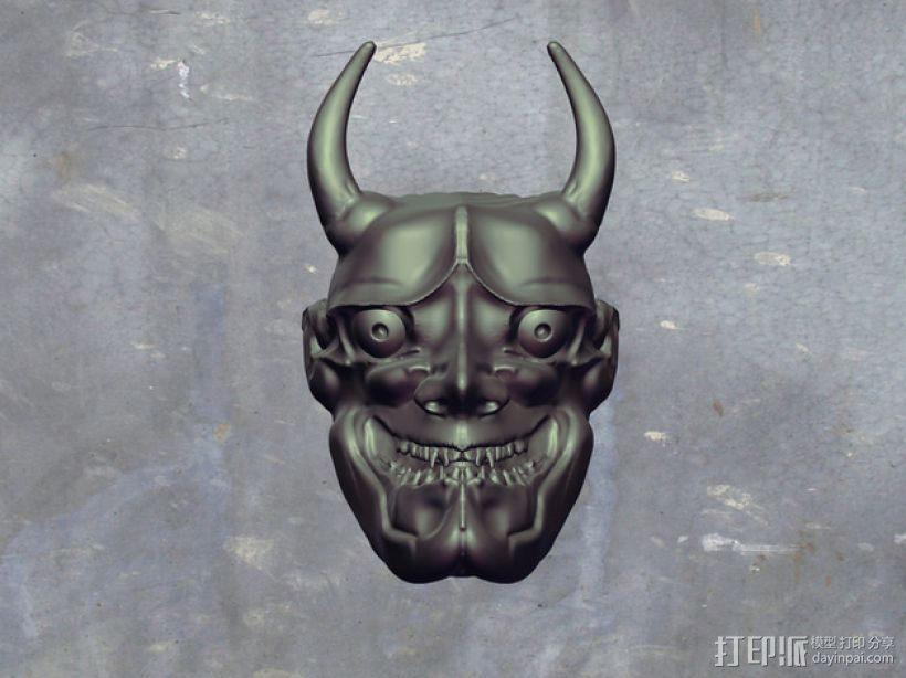 般若面具 3D打印模型渲染图