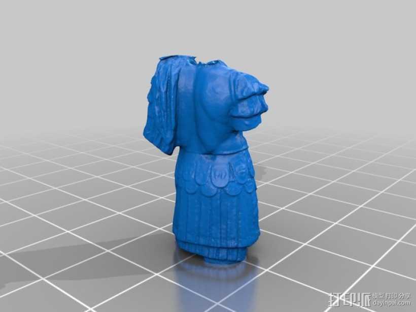 罗马帝国皇帝的躯干 大理石雕像模型。 3D打印模型渲染图