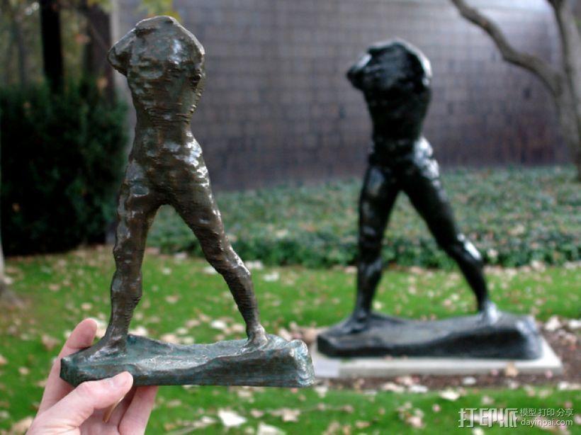 奥古斯特·罗丹雕塑:行走的人 3D打印模型渲染图