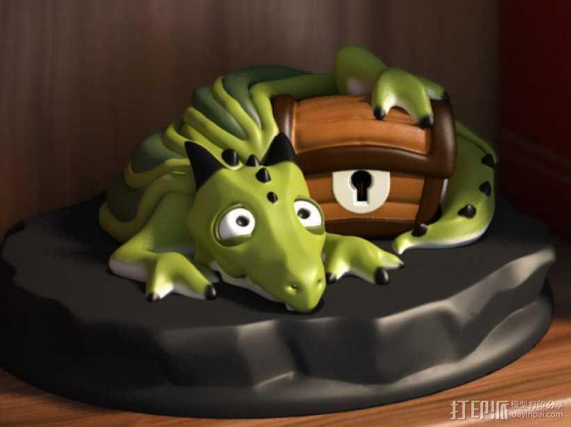 宠物藏宝箱雕塑 3D打印模型渲染图