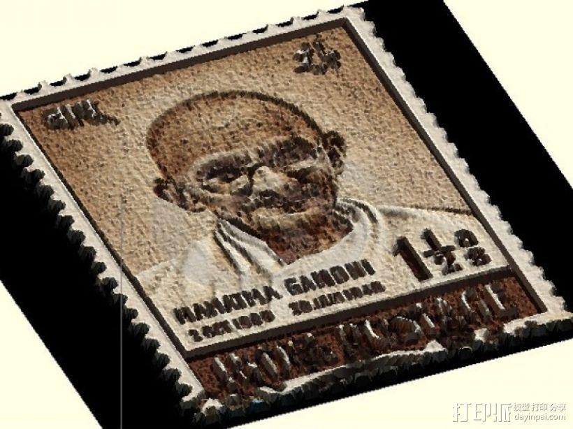 甘地邮票 3D打印模型渲染图