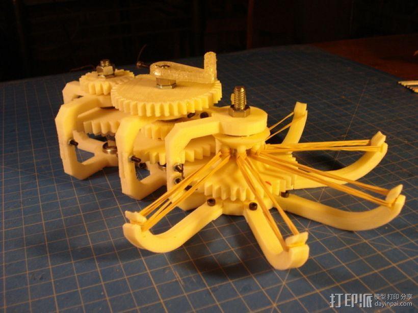 橡皮筋齿轮装置 3D打印模型渲染图