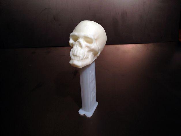骷髅头PEZ糖果盒盖 3D打印模型渲染图
