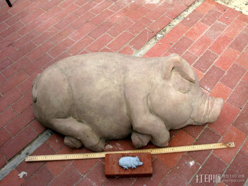 睡着的猪 3D打印模型渲染图