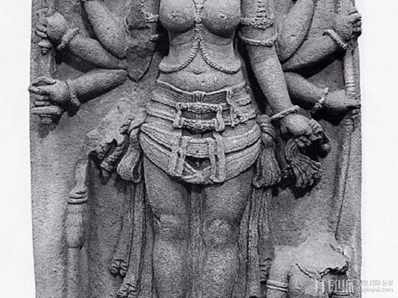 胜利女神杜尔迦 3D打印模型渲染图