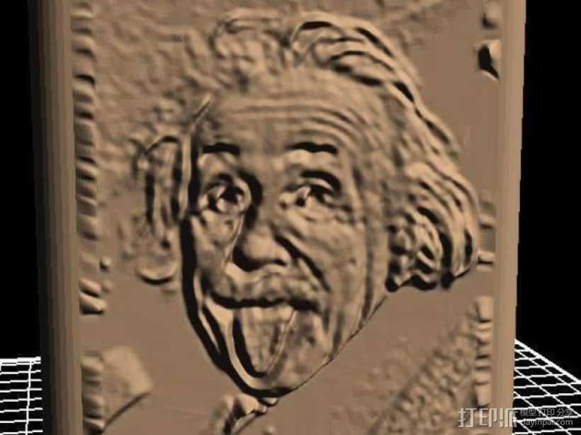 爱因斯坦头像面板 3D打印模型渲染图