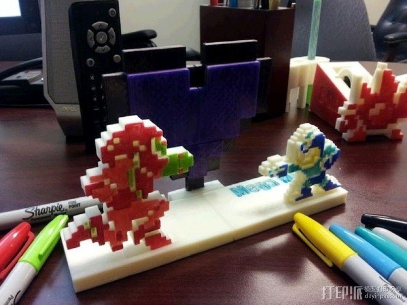 8bit 银河战士 洛克人 3D打印模型渲染图