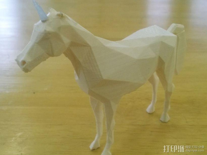 低聚独角兽 3D打印模型渲染图