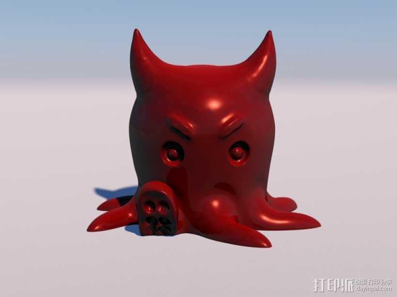 愤怒的章鱼  模型 3D打印模型渲染图
