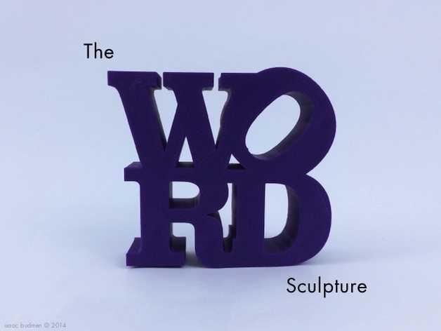 字母 雕塑模型 3D打印模型渲染图