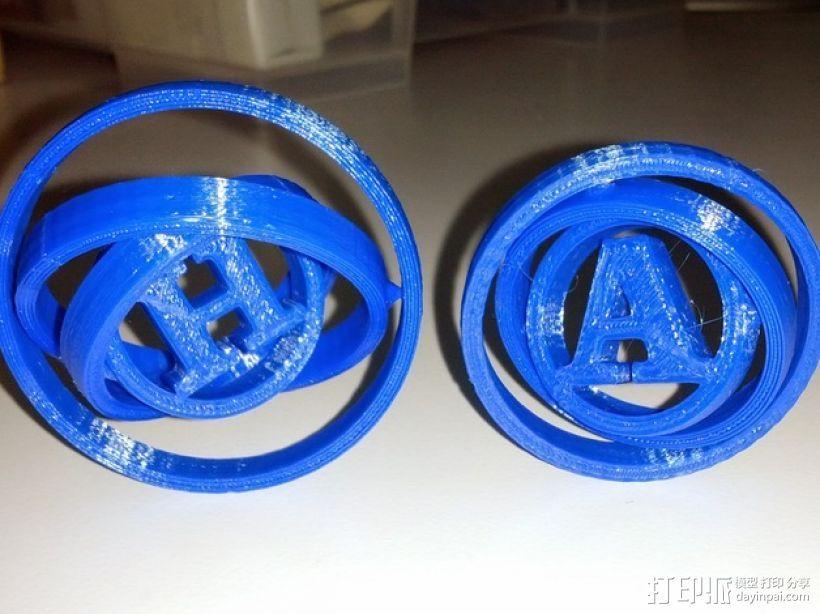 字母 平衡环 3D打印模型渲染图