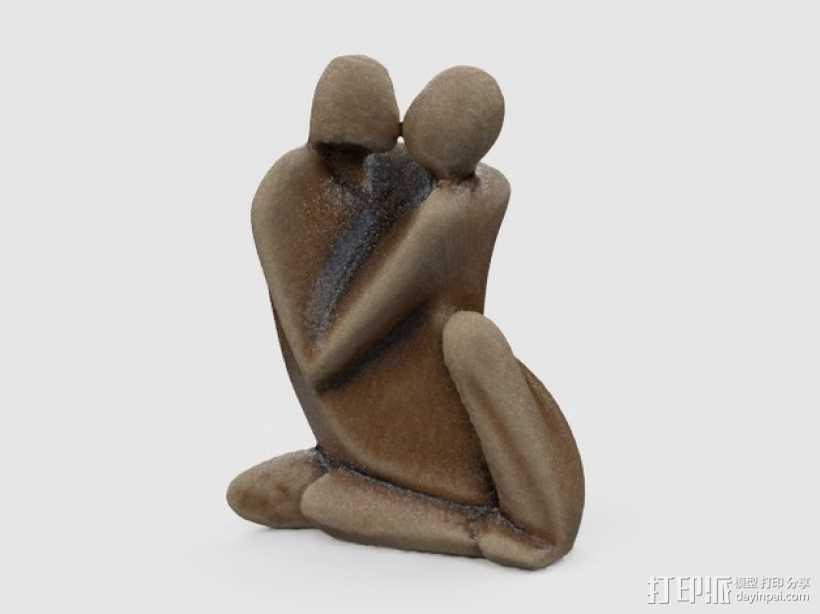 情侣 雕塑 3D打印模型渲染图