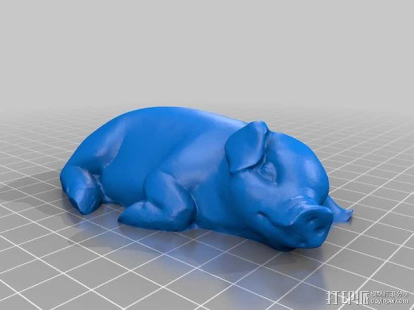 熟睡的猪 模型 3D打印模型渲染图