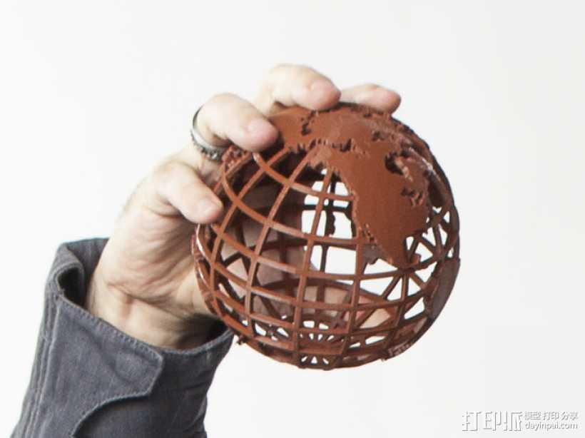 镂空地球模型 3D打印模型渲染图