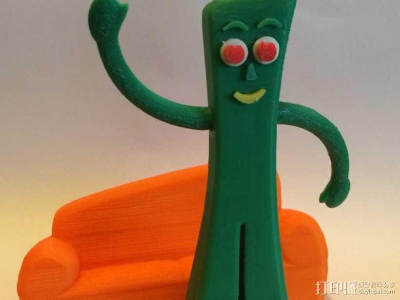 小绿人Gumby 3D打印模型渲染图