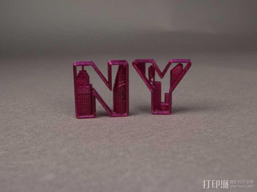 NY 花式字母 3D打印模型渲染图